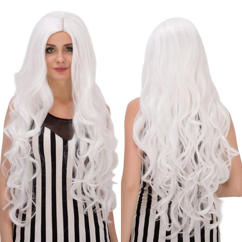 Graceful Long Middle Part White Wavy Women's Cosplay Lolita Synthetic Wig - WHITE