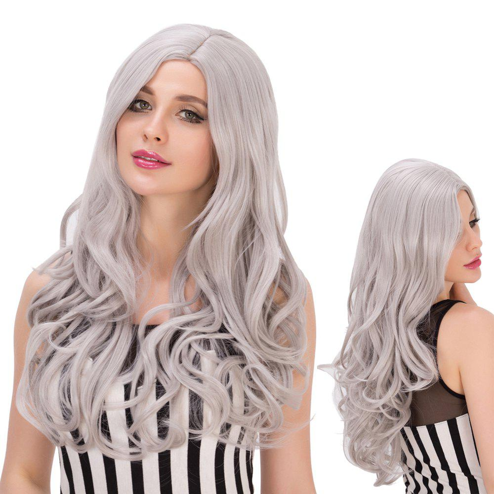 Long Side Parting Gray Mixed Attractive Wavy Cosplay Lolita Synthetic Wig - COLORMIX