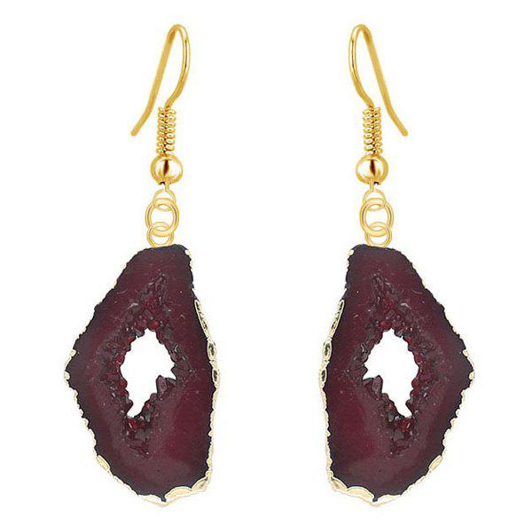 Natural Stone Geometry Drop Earrings - DEEP BROWN