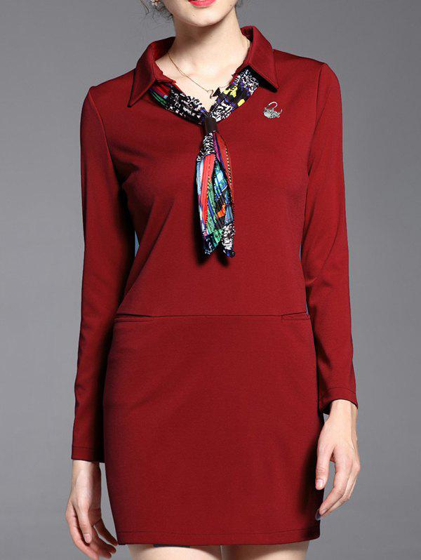 Long Sleeve Polo Dress With ScarfWomen<br><br><br>Size: L<br>Color: WINE RED