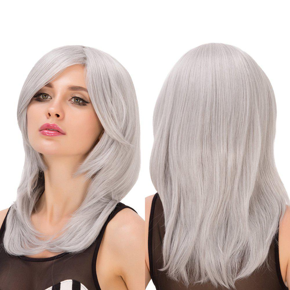 Medium Side Bang Silver Gray Layered Tail Adduction Endearing Women's Cosplay Lolita Synthetic Wig - SILVER WHITE