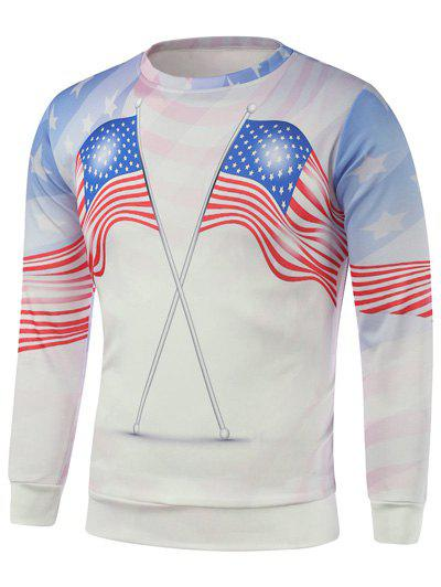 American Flags Printed Long Sleeve Sweatshirt waugh e put out more flags