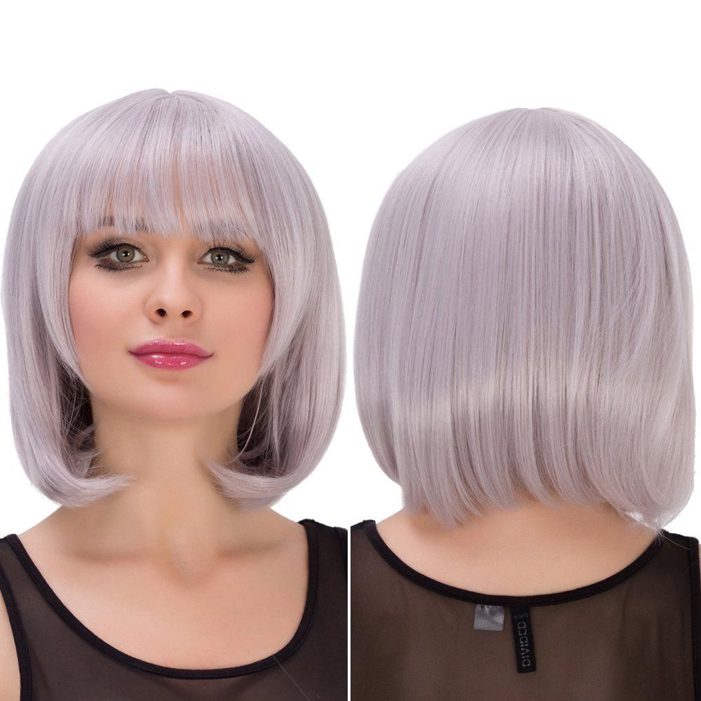 Endearing Silver Grey Purple Short Full Bang Straight Layered Cosplay Lolita Synthetic Wig For Women