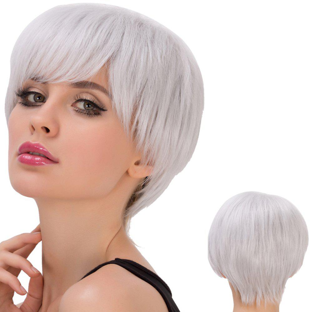 Skilful Silver Grey Short Side Bang Straight Cosplay Lolita Synthetic Wig For Women