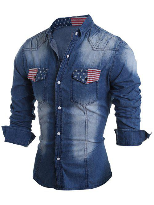 Snap Button Up Pockets Front Flag Pattern Denim Shirt - DEEP BLUE XL
