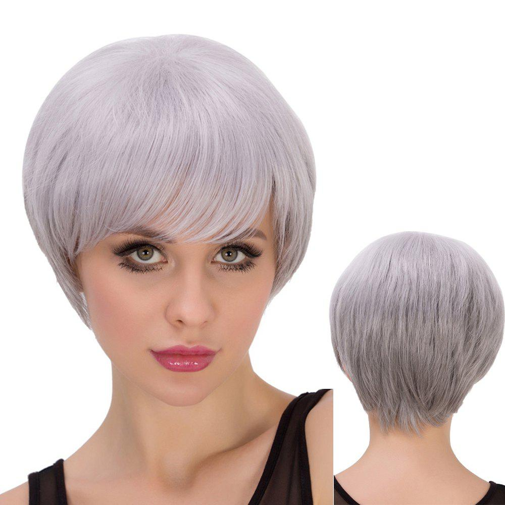 Skilful Short Side Bang Straight Silver Grey Cosplay Lolita Synthetic Wig For Women -  SILVER GRAY