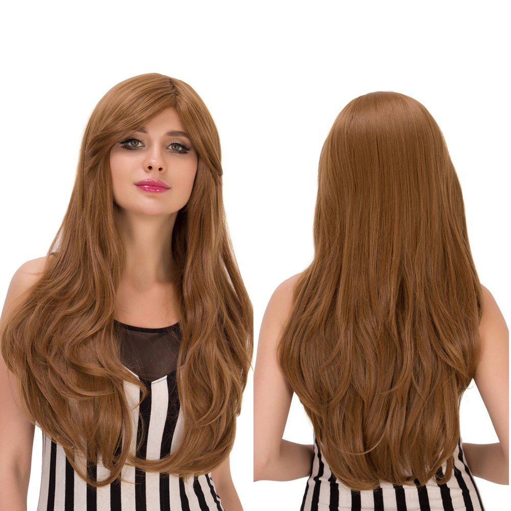 Slightly Curled Long Dark Ash Blonde Side Bang Sparkling Synthetic Wig For Women - DARK ASH BLONDE
