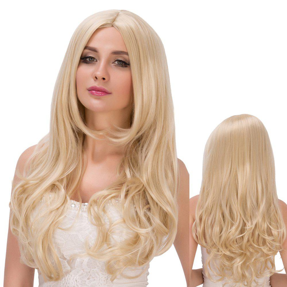 Layered Wavy Long Centre Parting Bright Golden Sparkling Synthetic Wig For Women