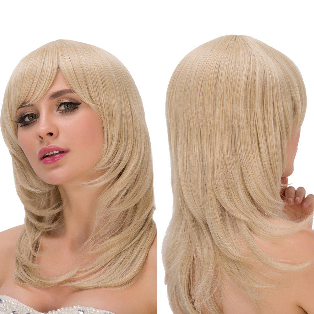 Tail Adduction Medium Pale Gold Side Bang Fascinating Synthetic Wig For Women