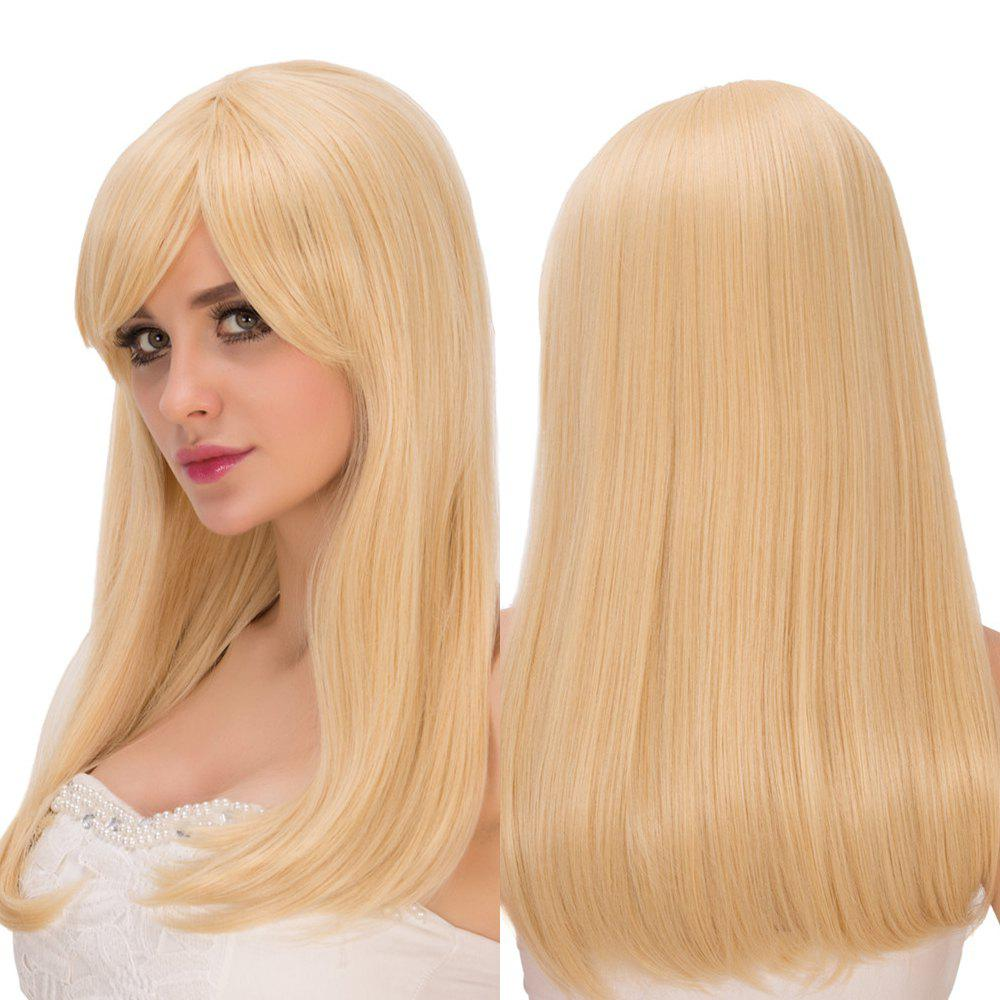 Silky Straight Long Golden Side Bang Fascinating Synthetic Wig For Women - GOLDEN