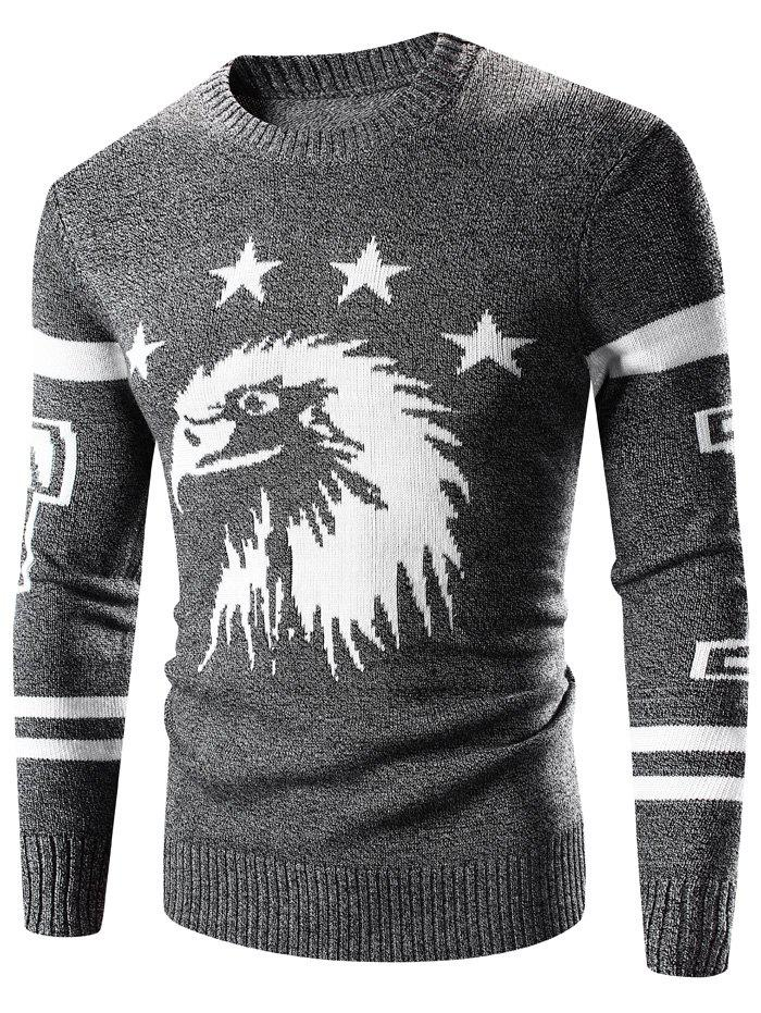 Eagle Pattern Varsity Stripe Crew Neck Long Sleeve SweaterMen<br><br><br>Size: M<br>Color: DEEP GRAY