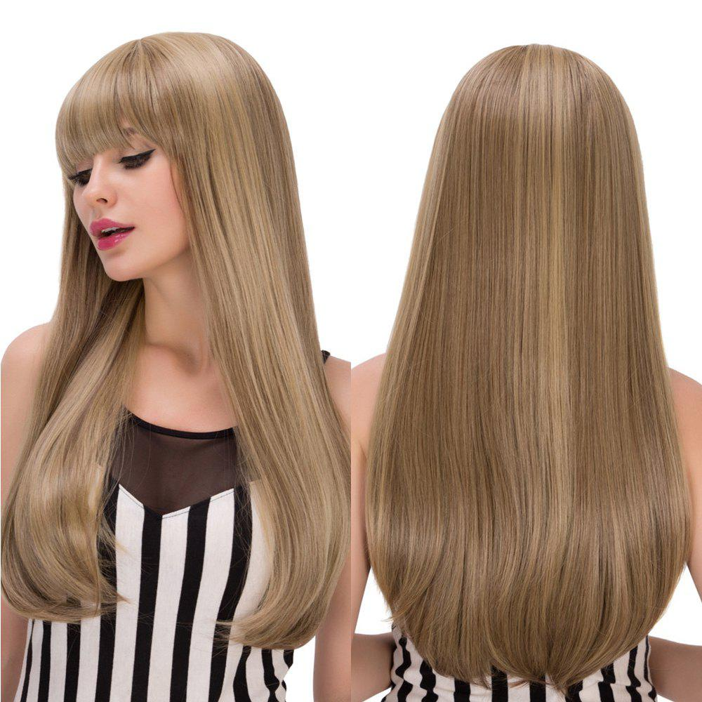 Long Silky Straight Tail Adduction Mixed Color Full Bang Synthetic Wig - COLORMIX