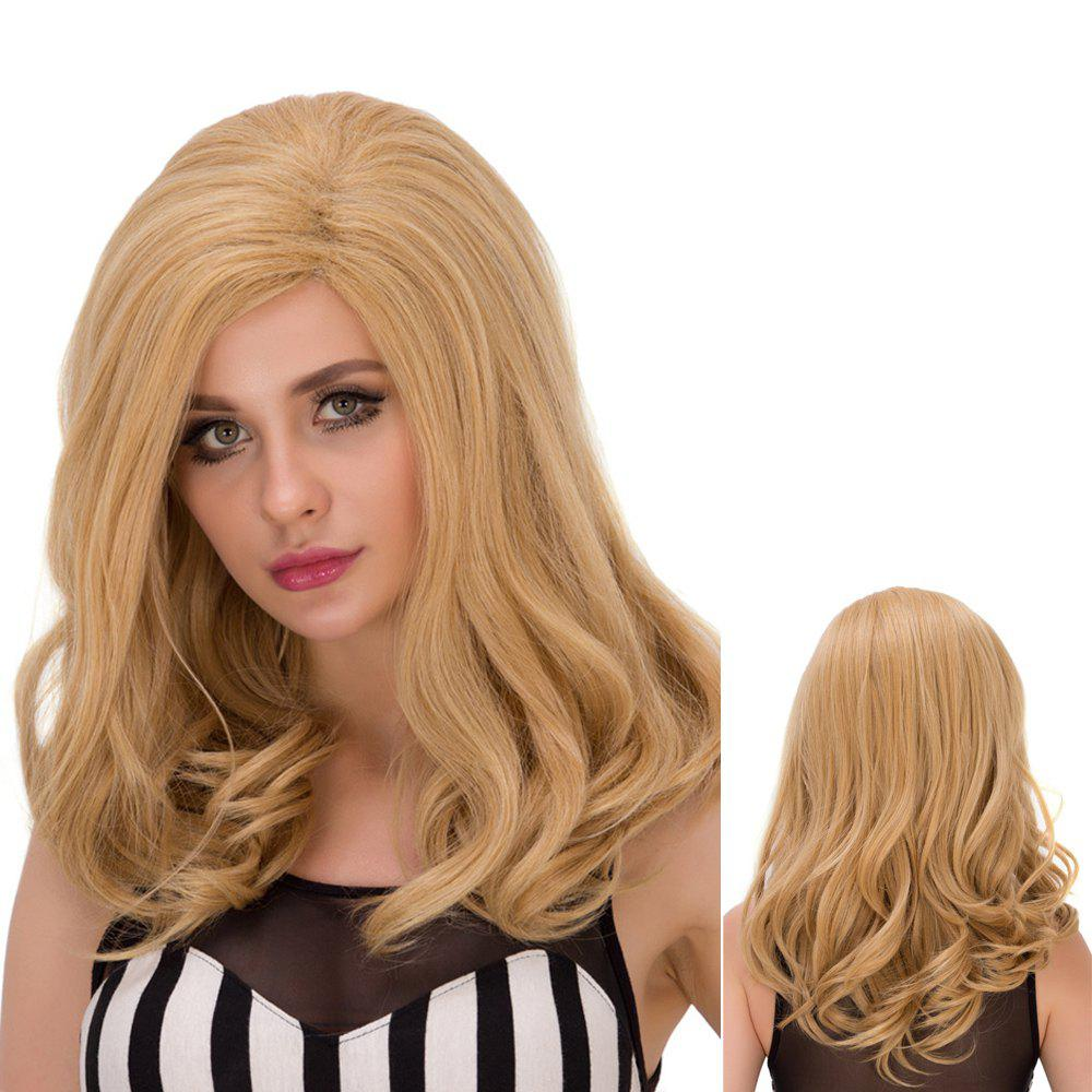 Fluffy Wavy Medium Mixed Color Side Parting Ladylike Synthetic Wig For Women
