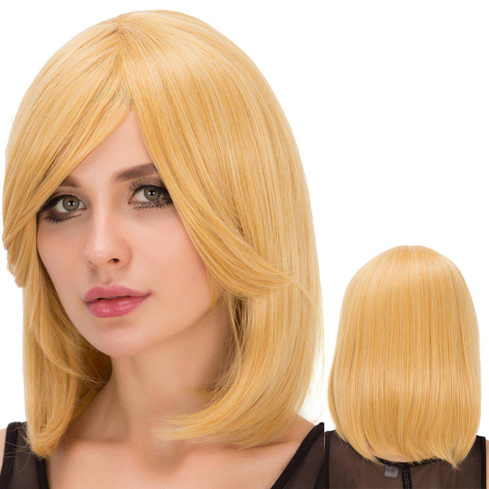 Straight Short Golden Side Bang Fascinating Synthetic Wig For Women