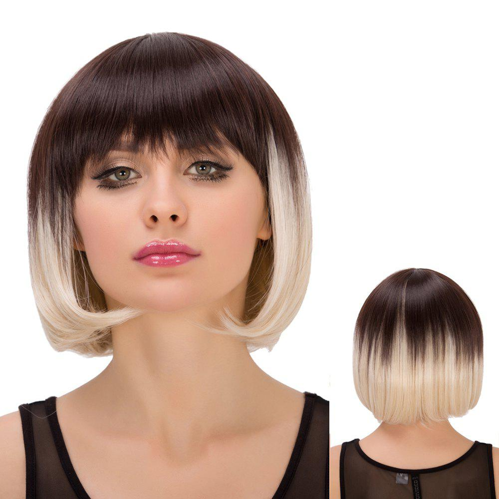 Straight Short Full Bang Mixed Color Spiffy Synthetic Wig For Women - COLORMIX