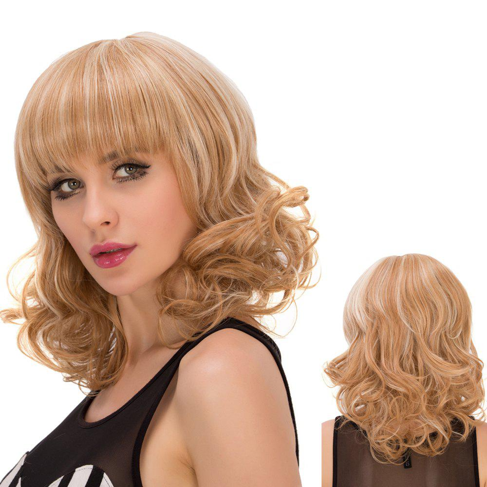 Fashion Medium Wavy Full Bang Mixed Color Synthetic Wig For Women - COLORMIX
