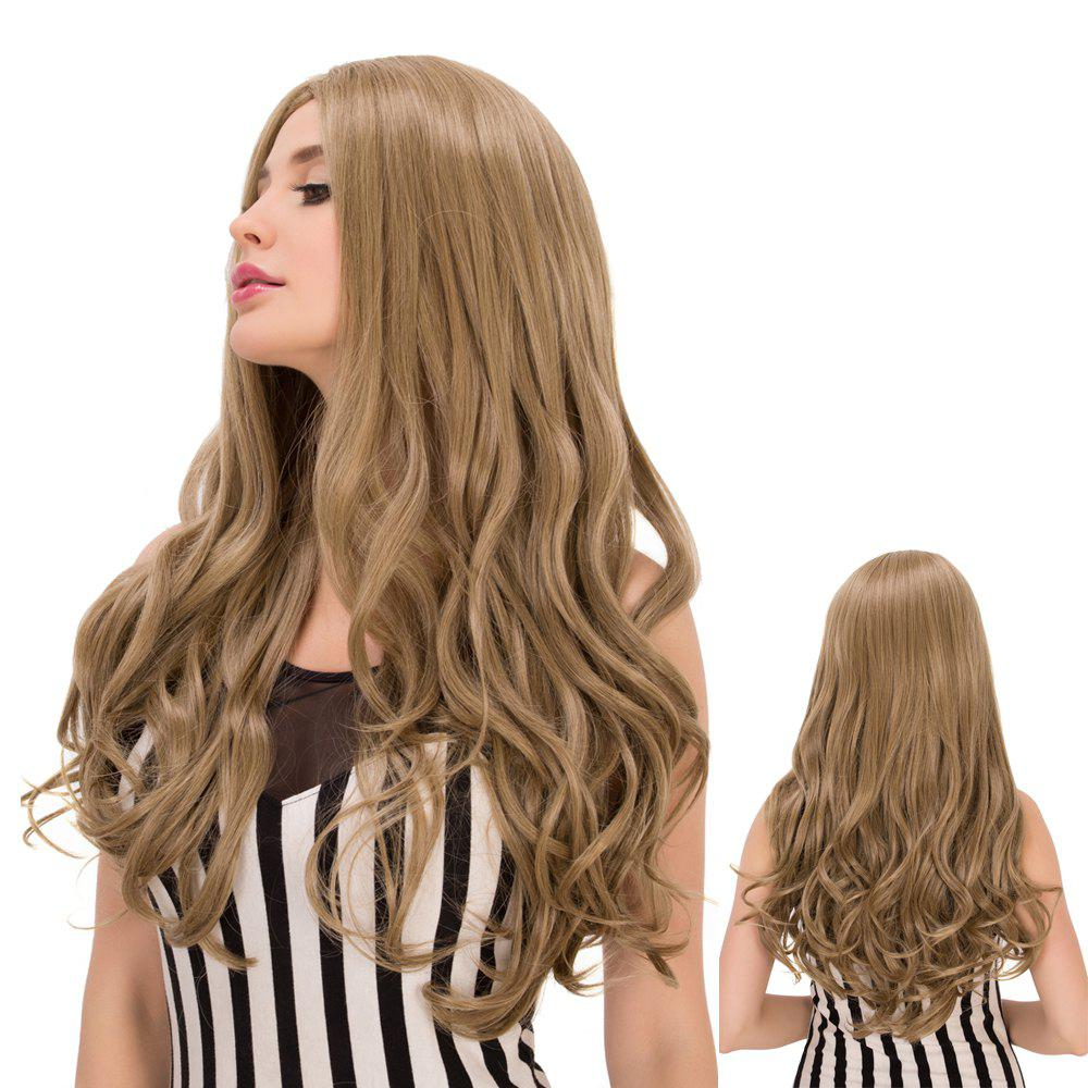 Fashion Long Wavy Centre Parting Flaxen Synthetic Wig For Women
