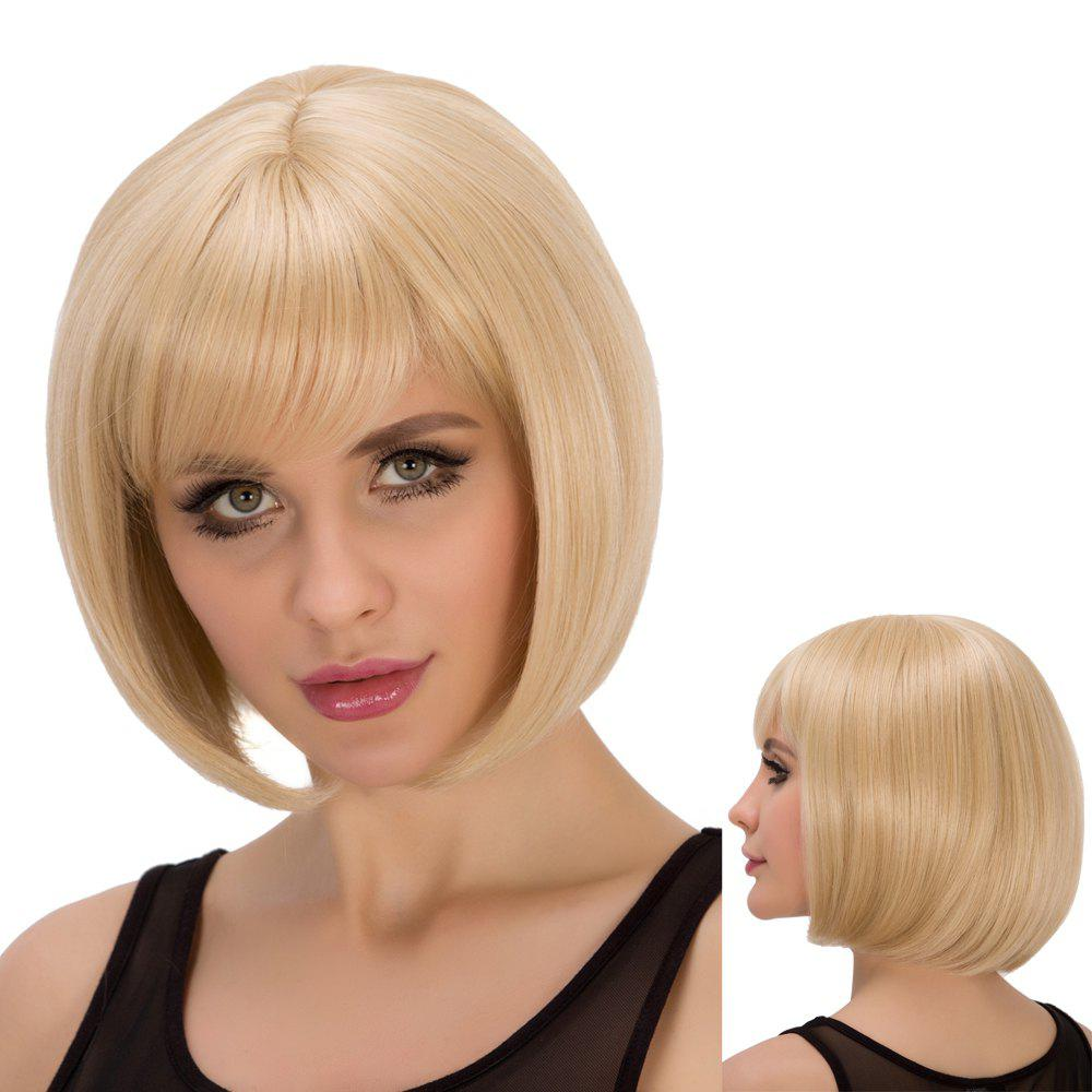 Straight Short Full Bang Light Blonde Spiffy Synthetic Wig For Women cheap 32cm straight male mens short blonde wig cosplay