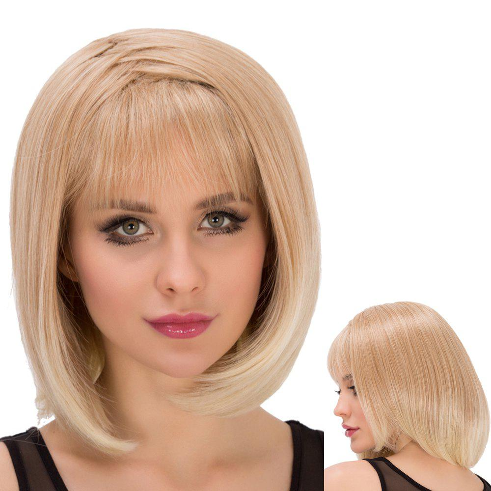 Straight Short Asymmetry Full Bang Mixed Color Outstanding Synthetic Wig For Women