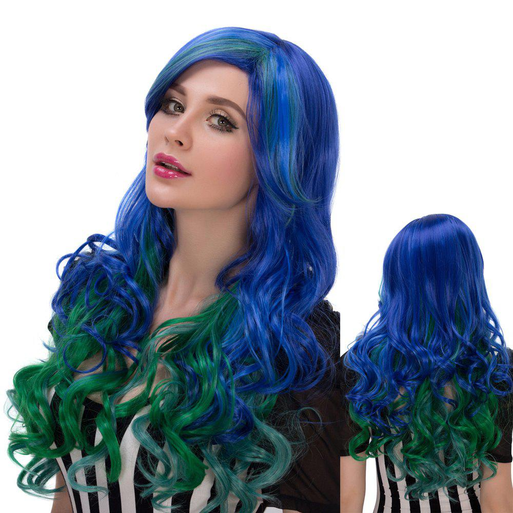 Colorful Faddish Long Side Parting Wavy Film Character Cosplay Wig - COLORMIX