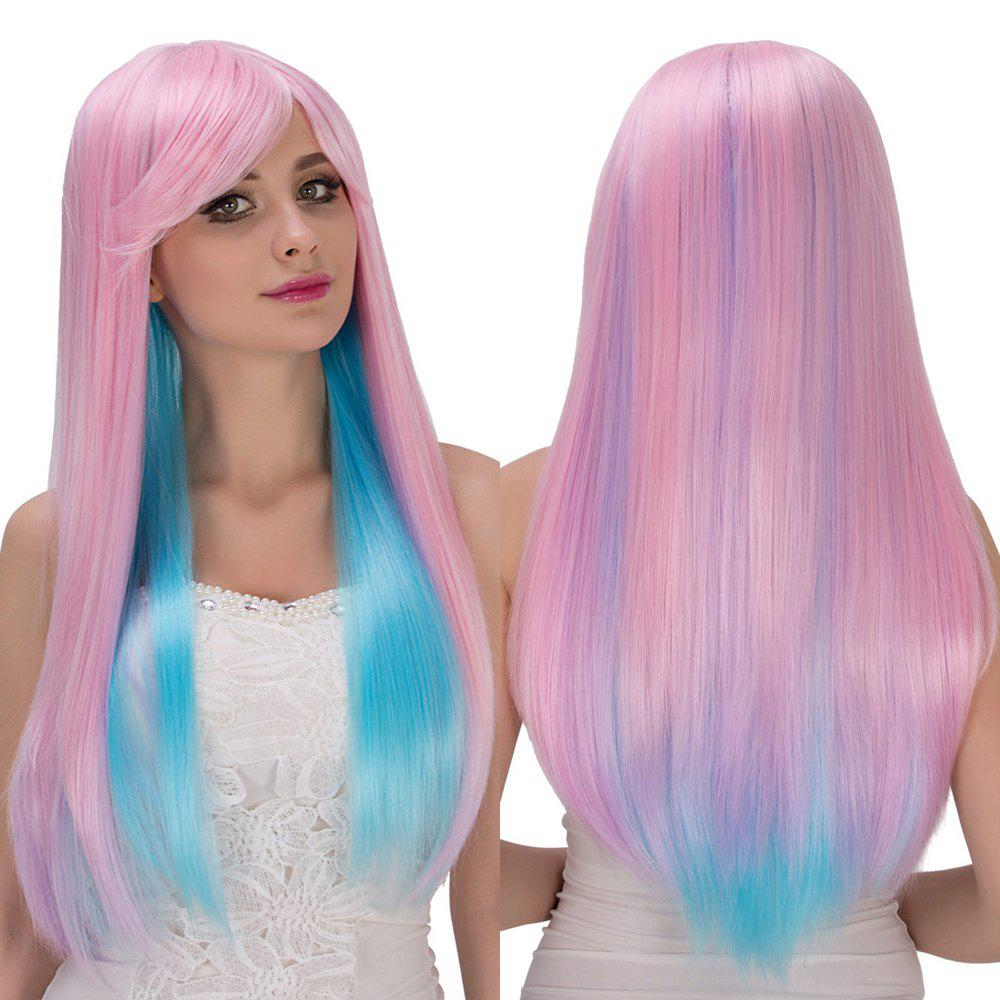 Fresh Powder Blue Long Side Bang Straight Film Character Cosplay Wig - COLORMIX
