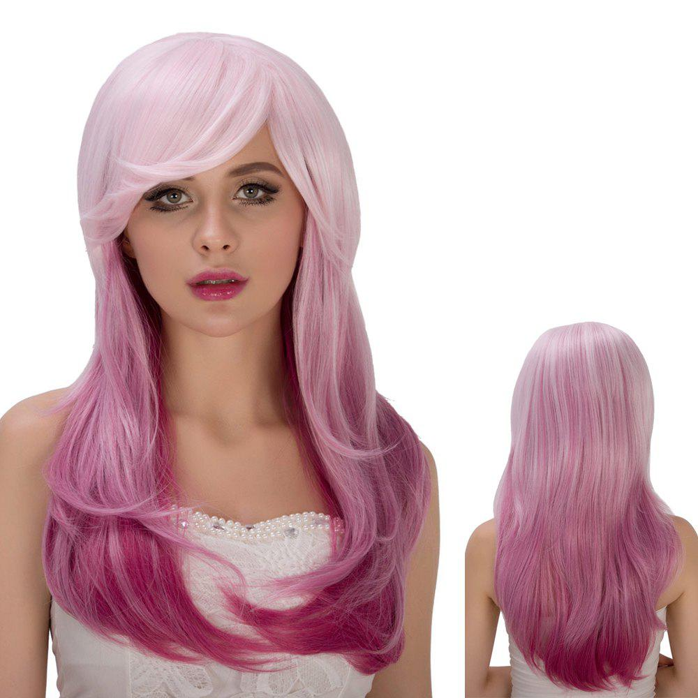 Vivid Pink Ombre Long Side Bang Straight Tail Adduction Film Character Cosplay Wig