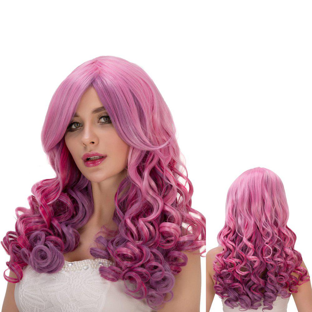 Vivid Pink Purple Ombre Long Side Bang Wavy Film Character Cosplay Wig - COLORMIX