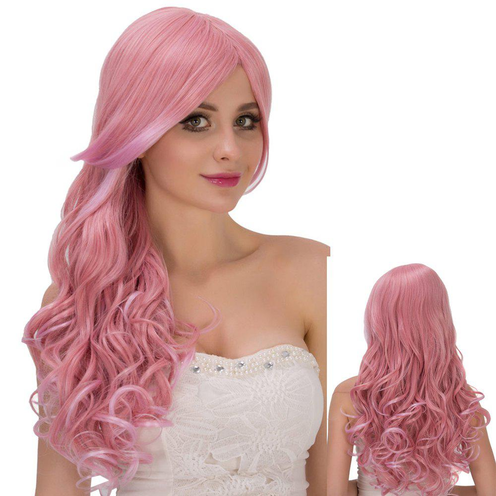 Vivid Pink Ombre Long Side Bang Wavy Film Character Cosplay Wig - multicolorcolore