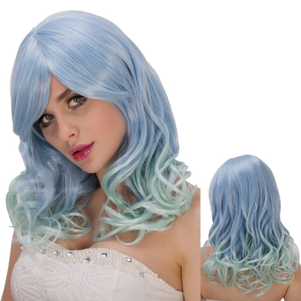 Graceful Blue Mixed Green Long Side Bang Wavy Film Character Cosplay Wig - COLORMIX