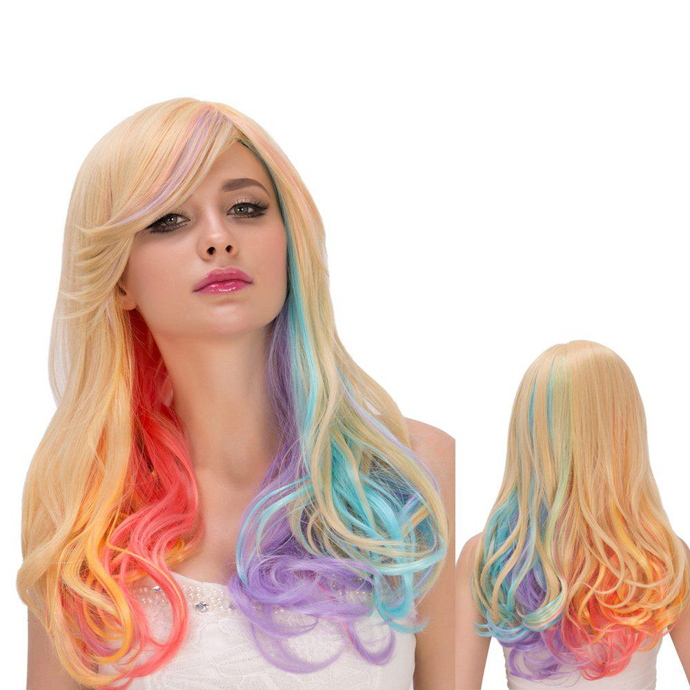 Rainbow Faddish Long Side Bang Wavy Film Character Cosplay Wig - COLORMIX