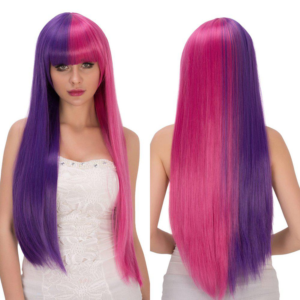 Purple Red Double Color Fashion Long Full Bang Straight Film Character Cosplay Wig