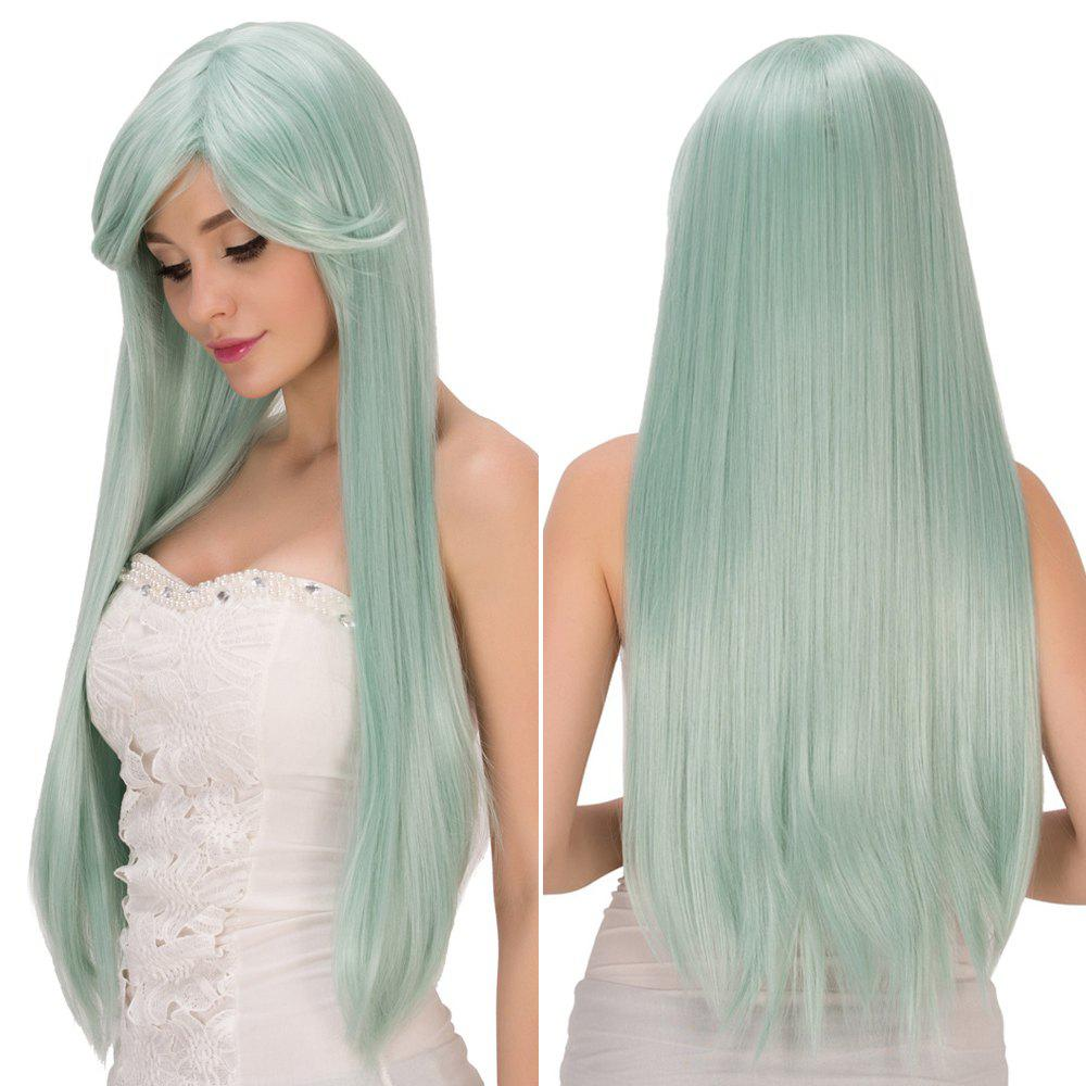 Fresh Light Green Long Side Bang Straight Film Character Cosplay Wig - LIGHT GREEN