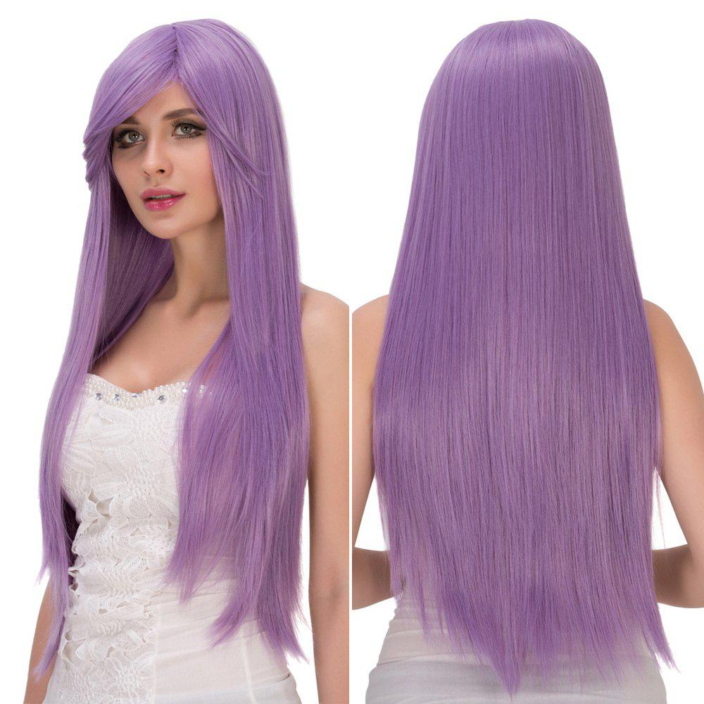 Fresh Light Purple Long Side Bang Straight Film Character Cosplay Wig fine free shipping 100cm extra long straight slanting bang light purple cosplay wig