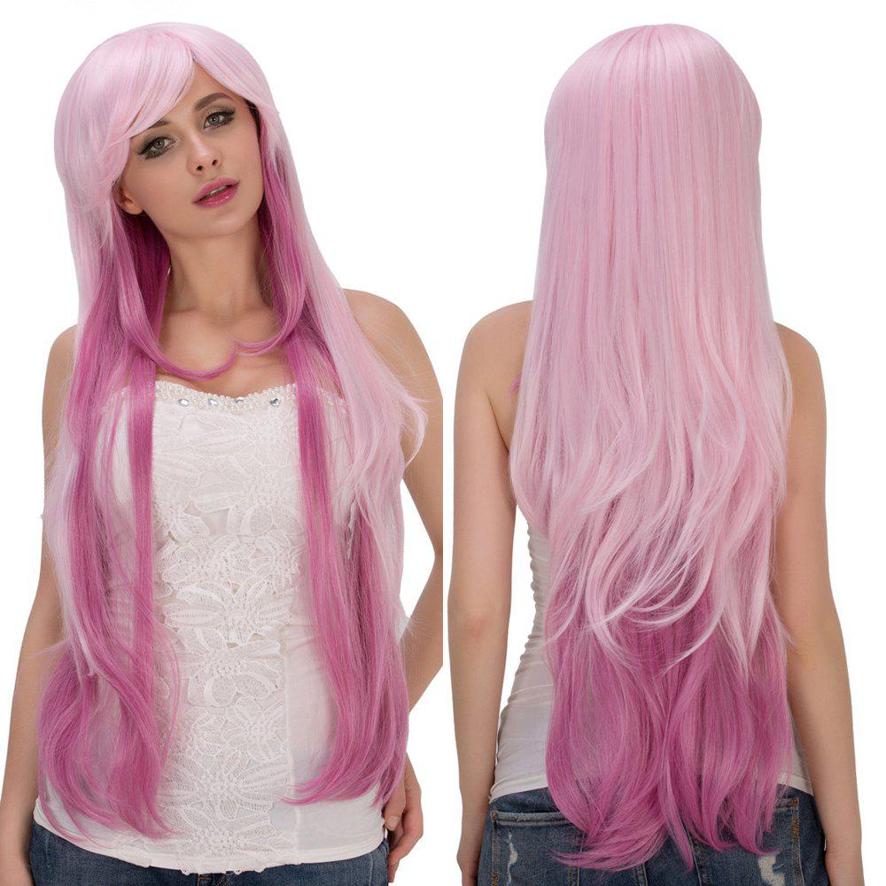 Fresh Pink Ombre Long Layered Side Bang Straight Film Character Cosplay Wig - COLORMIX