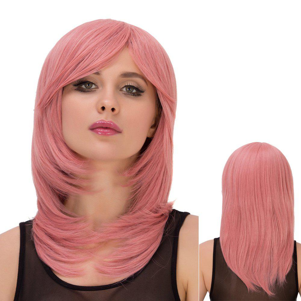 Fresh Pink Long Layered Tail Adduction Side Bang Straight Film Character Cosplay Wig - PINK