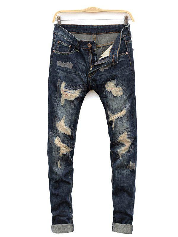 Straight Leg Cat's Whisker Distressed Denim Jeans - BLUE 32