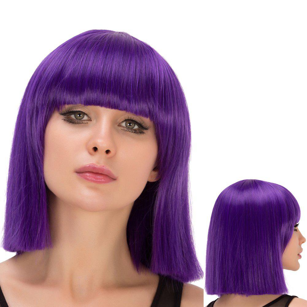 Full Bang Short Straight Film Character Cosplay Wig - PURPLE