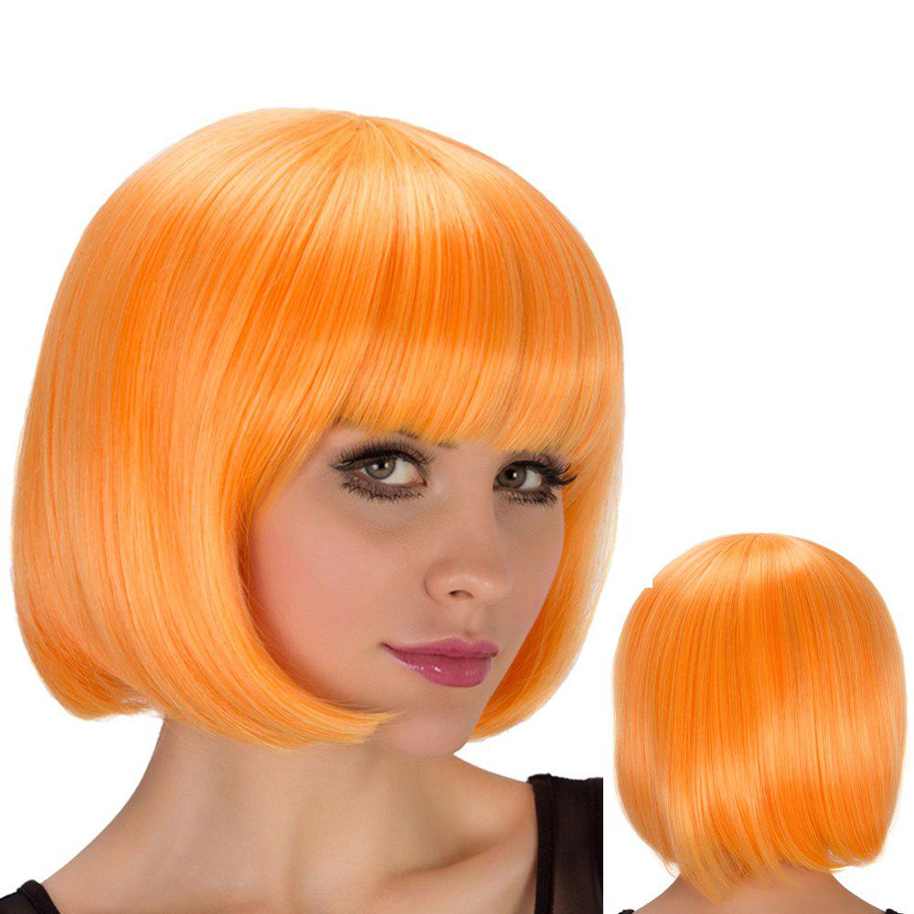 Bob Hairstyle Short Straight Full Bang Film Character Cosplay Wig - YOLK YELLOW