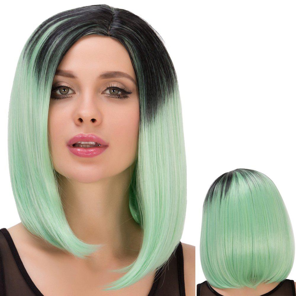 Medium Straight Side Parting Black Mixed Green Film Character Cosplay Wig dd001498 dark green mixed long straight cosplay wig a mesh cap