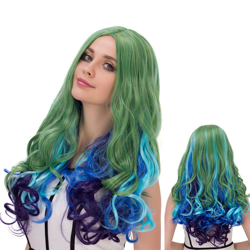 Long Centre Parting Wavy Colored Film Character Cosplay Wig - COLORMIX