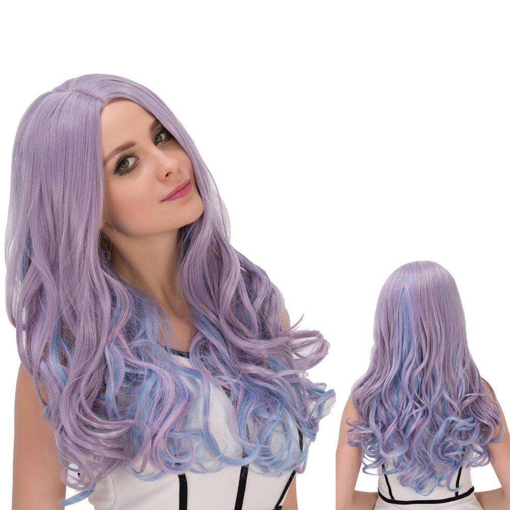 Long Wavy Colored Centre Parting Film Character Cosplay Wig - COLORMIX