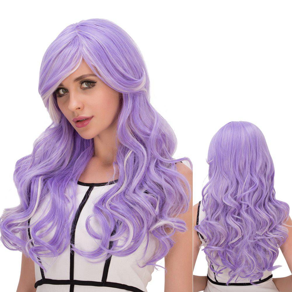 Long Wavy Film Character Side Bang Cosplay Wig - WHITE / PURPLE