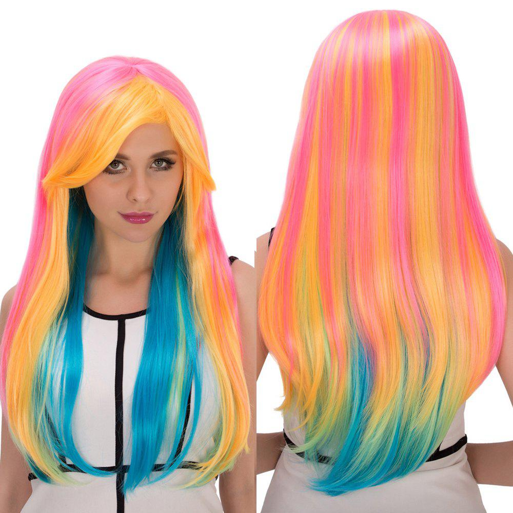 Long Side Bang Straight Rainbow Film Character Cosplay Wig qiyi charming glossy side bang long straight cosplay wig