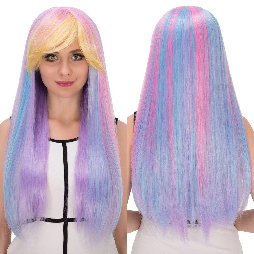 Long Side Bang Straight Rainbow Film Character Cosplay Synthetic Wig - COLORMIX