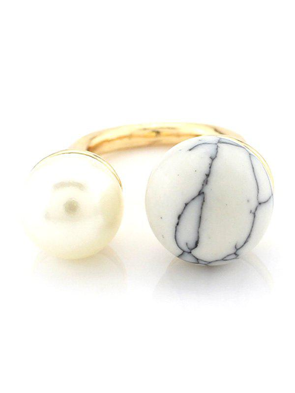 Faux Pearl Bead Openwork Ring