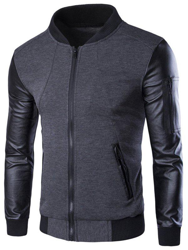 PU-Leather Spliced Stand Collar Zip-Up Jacket pu leather spliced stand collar zip up jacket