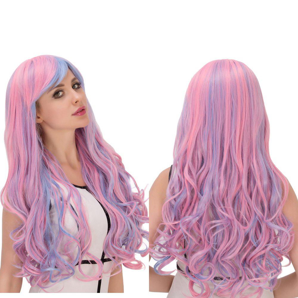 Faddish Colored Film Character Long Fluffy Side Bang Wavy Cosplay Wig - COLORMIX