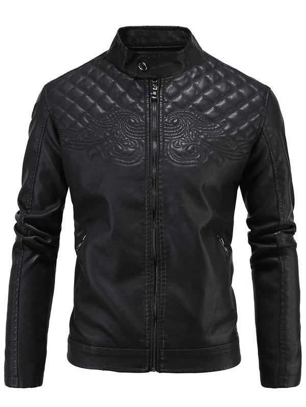 PU-Leather Embroidered Fleece Thicken Zip-Up Jacket fleece graphic embroidered pu leather jacket