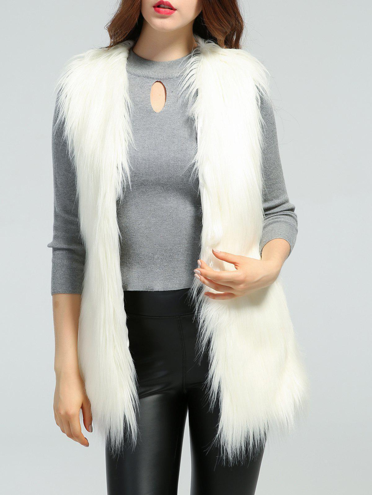 Faux Fur Slimming Waistcoat - WHITE S