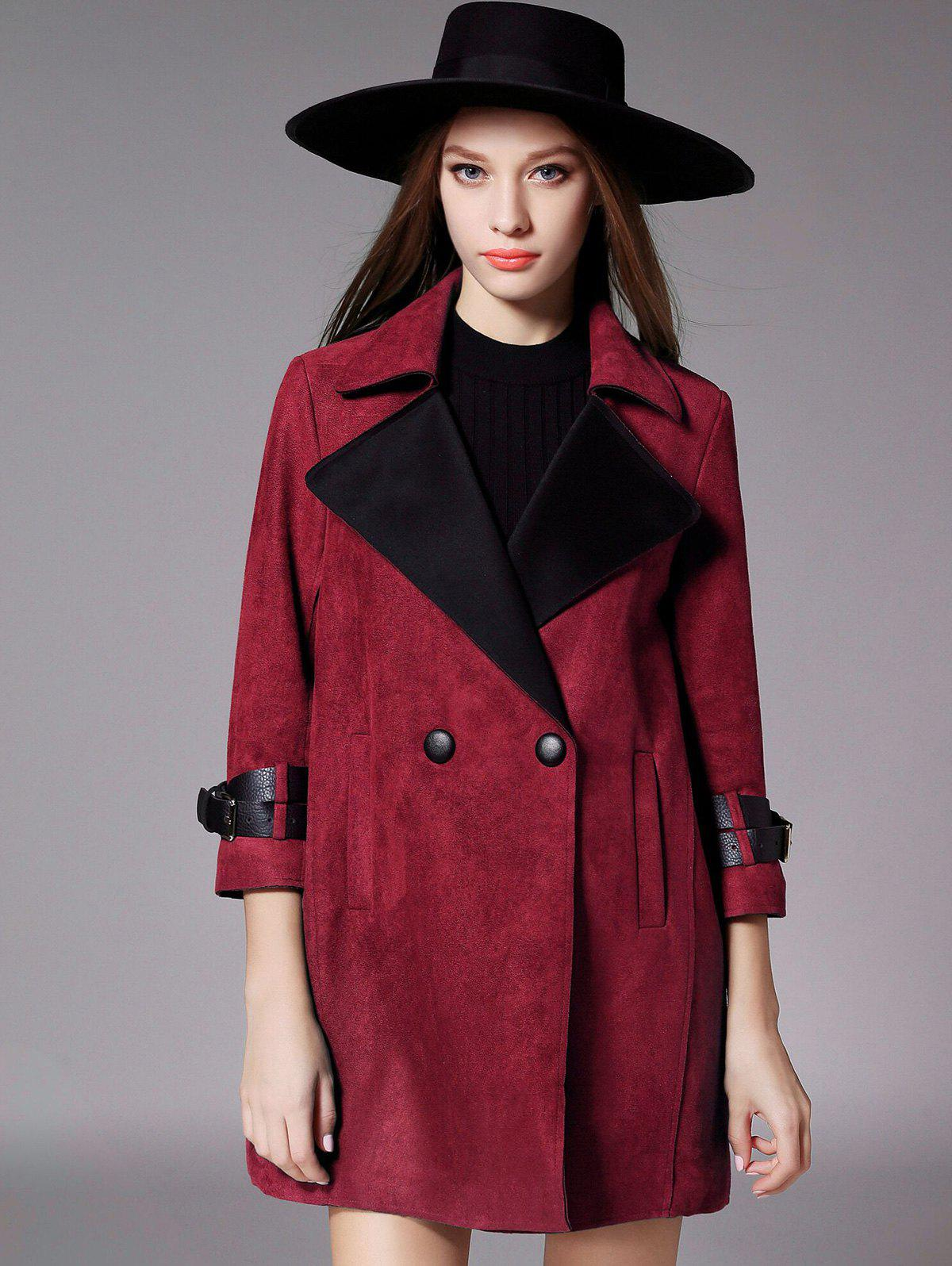 Double Breasted 3/4 Sleeves Wool Coat - WINE RED XL